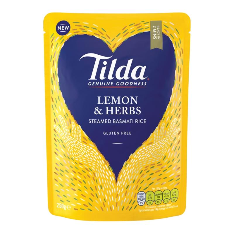 Tilda Lemon & Herbs Steamed Basmati - 250g