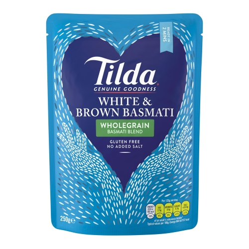 Tilda White and Brown Steamed Basmati - 6 x 250g