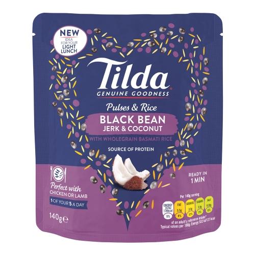 Tilda Black Bean, Jerk & Coconut Pulses & Rice - 140g