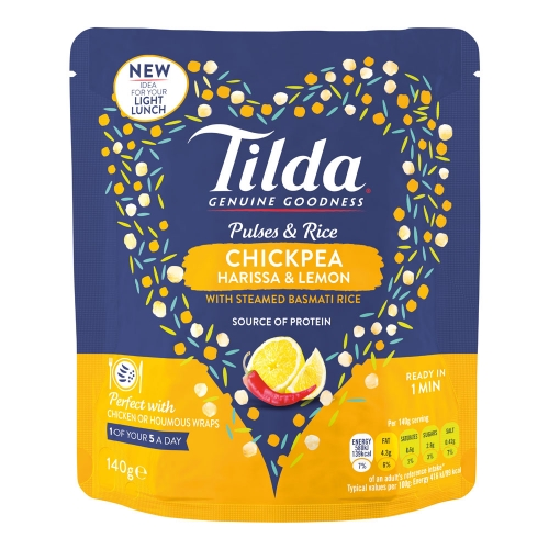 Tilda Chickpea, Harissa and Lemon Pulses & Rice - 9 x 140g
