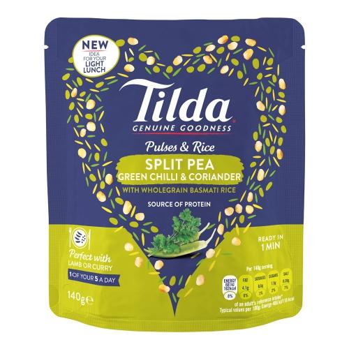 Tilda Split Pea, Green Chilli & Coriander Pulses & Rice - 140g